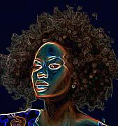 Head Shot Digital Art Prints - Womans Essence III  Print by Byron Fli Walker