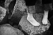 Barefeet Prints - Womans Feet On Giants Causeway Stones Print by Joe Fox