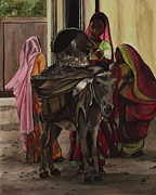 Kim Selig Prints - Women and Donkey at Work Print by Kim Selig