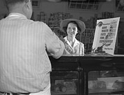 Grocery Stores Posters - Women At Grocery Store Meat Counter. A Poster by Everett