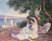 Lakeside Framed Prints - Women Bathing Framed Print by Maximilien Luce
