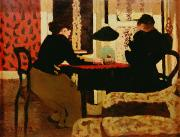 Table Paintings - Women by Lamplight by vVuillard