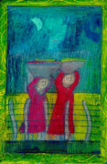 Wash Pastels - Women carrying Wash by Lydia L Kramer