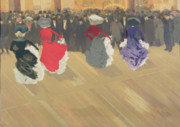 Audience Paintings - Women Dancing the Can Can by Abel Truchet
