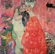 Klimt Posters - Women Friends Poster by Gustav Klimt
