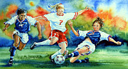 Soccer Painting Framed Prints - Women Framed Print by Hanne Lore Koehler