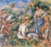 Baskets Painting Posters - Women in a Landscape Poster by Renoir