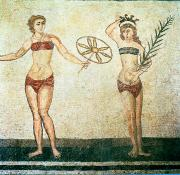 Roman Paintings - Women in bikinis from the Room of the Ten Dancing Girls by Roman School