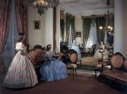 Four People Photos - Women In Period Costumes Sit In An by Willard Culver