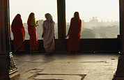 Of Buildings Framed Prints - Women In Saris At The Famous Jama Framed Print by Justin Guariglia