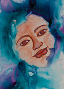 Scarves Painting Originals - Women in Scarves Warrior by Ilisa  Millermoon