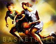 Basketball Digital Art Framed Prints - Women in Sports - Basketball Framed Print by Mike Massengale