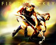 Ladies Digital Art Posters - Women in Sports - Field Hockey Poster by Mike Massengale