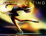 Skating Posters - Women in Sports - Figure Skating Poster by Mike Massengale