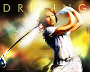 Spots  Digital Art Posters - Women in Sports - golf Poster by Mike Massengale