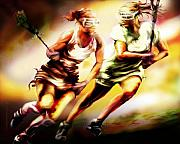 Sports Mixed Media Originals - Women in Sports - Lacrosse by Mike Massengale