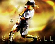 Ball Digital Art Posters - Women in Sports - Softball Poster by Mike Massengale