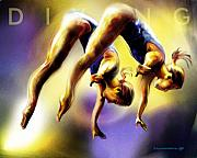 Athlete Framed Prints - Women in Sports - Tandom Diving Framed Print by Mike Massengale