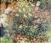 Wife Painting Posters - Women in the Flowers Poster by Claude Monet