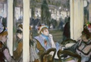 Women Pastels Framed Prints - Women on a Cafe Terrace Framed Print by Edgar Degas