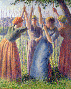 Impressionism Paintings - Women Planting Peasticks by Camille Pissarro