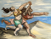 Pablo Picasso Painting Prints - Women Running On Beach Print by Ellen Marcus