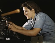 Manufacturing Posters - Women War Worker Finishing Airplane Poster by Everett