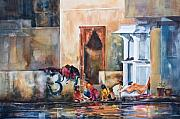 Women Painting Originals - Women Washing by the Lake Udaipur India by Kate Bedell