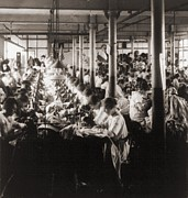 Manufacturing Posters - Women Working At Sewing Machines Poster by Everett