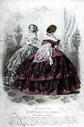 Corset Dress Framed Prints - Womens Fashion, 1858 Framed Print by Granger