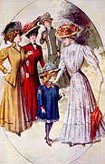 Feathered Hat Framed Prints - Womens Fashion, Circa 1900 Framed Print by Everett