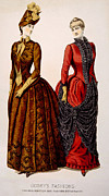Full Skirt Metal Prints - Womens Fashions From Godeys Ladys Book Metal Print by Everett