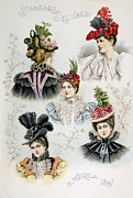 Feathered Hat Posters - Womens Hat Designs For April, 1897 Poster by Everett