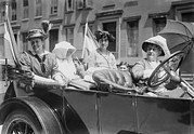 Social Movements Prints - Womens Suffrage Leaders In An Open Car Print by Everett