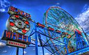 Wonder Framed Prints - Wonder Wheel Framed Print by Bryan Hochman