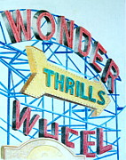 Pencil Drawing Posters - Wonder Wheel Poster by Glenda Zuckerman