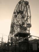Amusements Posters - Wonder Wheel No.2 in Sepia Poster by Bernadette Claffey
