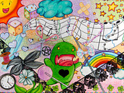 Green Monster Drawings - Wonderland by Kayleigh Dickson