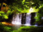 Hidden Digital Art Prints - Wonderous Waterfall Print by Bill Cannon