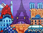 Paris Painting Metal Prints - Wonders of Paris Metal Print by Lisa  Lorenz