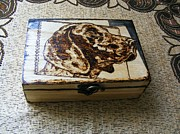 Box Pyrography - Wood Ammo Box-german Pointer Pyrography by Egri George-Christian