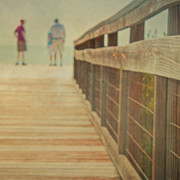 Mesh Prints - Wood And Mesh Bridge Print by Lynda Murtha