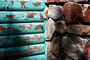 Log Cabin Art Posters - Wood and Stone Poster by Lon Casler Bixby