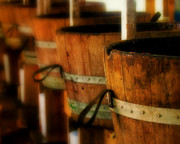 Wine Barrel Photo Metal Prints - Wood Barrels Metal Print by Perry Webster