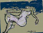 Nude Reliefs Posters - Wood Block 11 Poster by Noredin Morgan