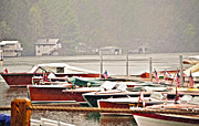 Susan Leggett Metal Prints - Wood Boats in the Rain Metal Print by Susan Leggett