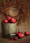 Vegetarian Posters - Wood bucket of apples for the holidays Poster by Sandra Cunningham