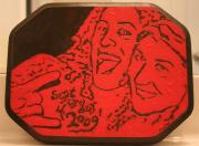 Pop Art Pyrography - Wood Burned Portrait of Megan and Jesse by Amy Parker
