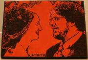 Pop Art Pyrography - Wood Burned Portrait of Robert and Sara by Amy Parker