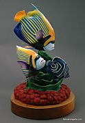 Carving Sculptures - Wood Carving Emperor Anglefish by Chad Turner
